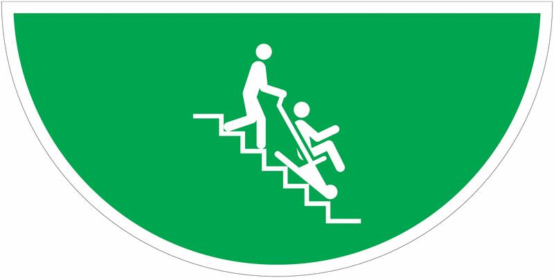 Marquage au sol avec pictogramme Chaise d'évacuation- E060
