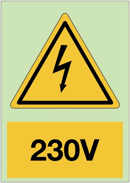 Panneau adhésif photoluminescent A5 Danger électricité - 230 V
