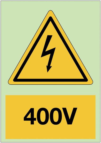 Panneau adhésif photoluminescent A5 Danger électricité - 400 V