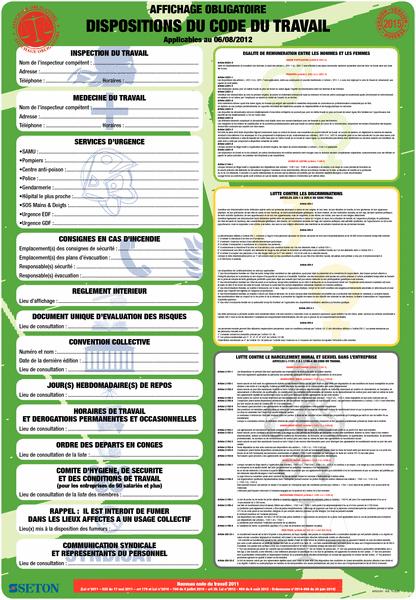 Affichage obligatoire sur les dispositions du code du travail