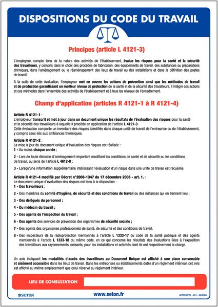 Affichage obligatoire à insert Document unique