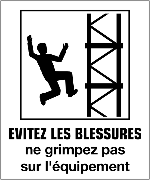Affiche posture du corps - Evitez les blessures ne grimpez pas sur l'équipement