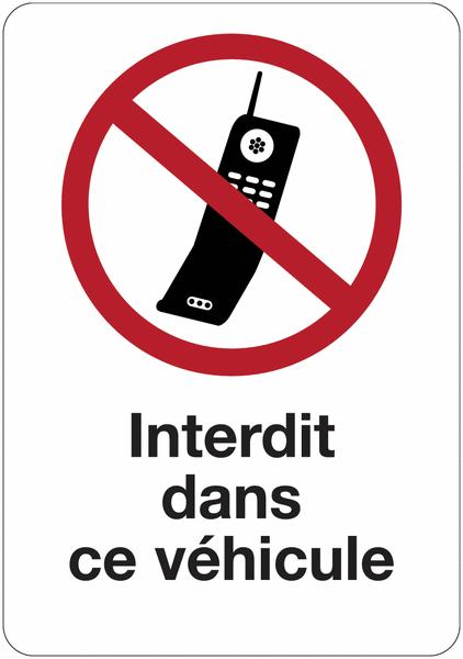 Etiquette pour véhicules Interdiction d'activer des téléphones mobiles dans ce véhicule