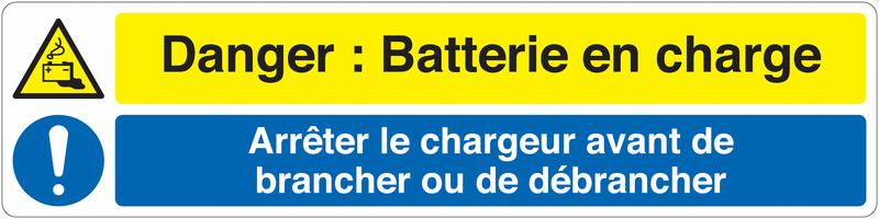 Marquage au sol pour barrière visuelle - Danger: batterie en charge Arrêt du chargeur avant de brancher ou débrancher - W026 M001