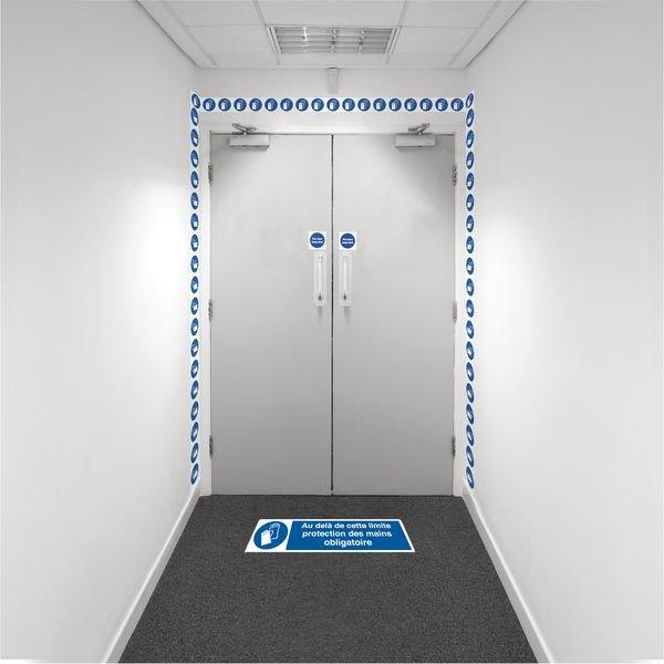 Kit barrière visuelle avec ruban adhésif mural et marquage au sol - Gants de sécurité obligatoires - M004