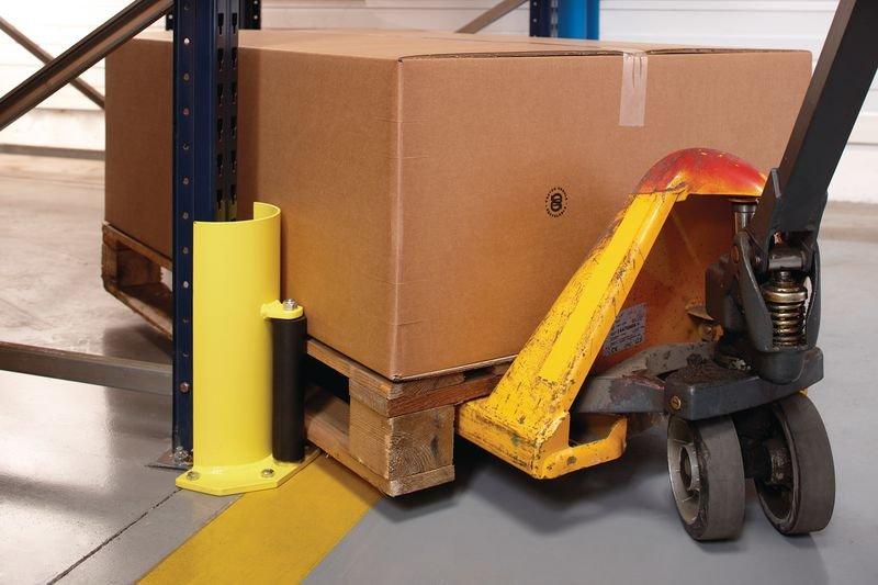 Protection pour rack arrondie avec roulette de guidage - Barrières de protection et protections de racks