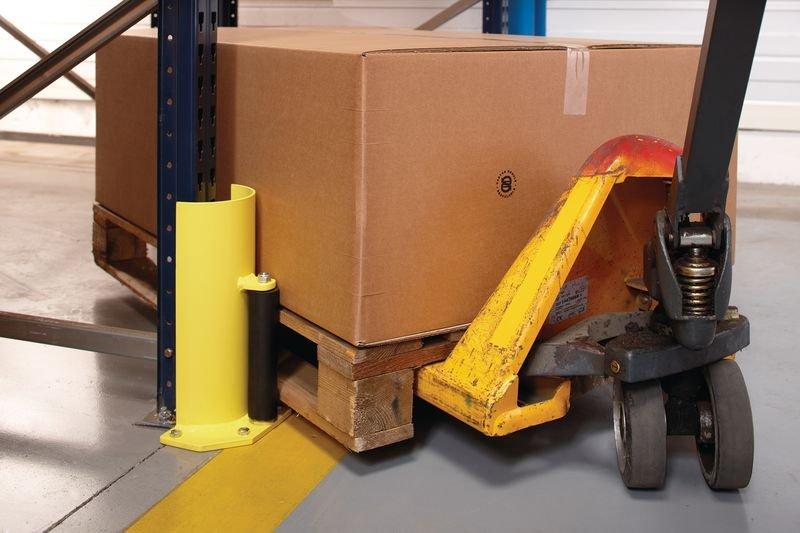 Protection pour rack arrondie avec roulette de guidage