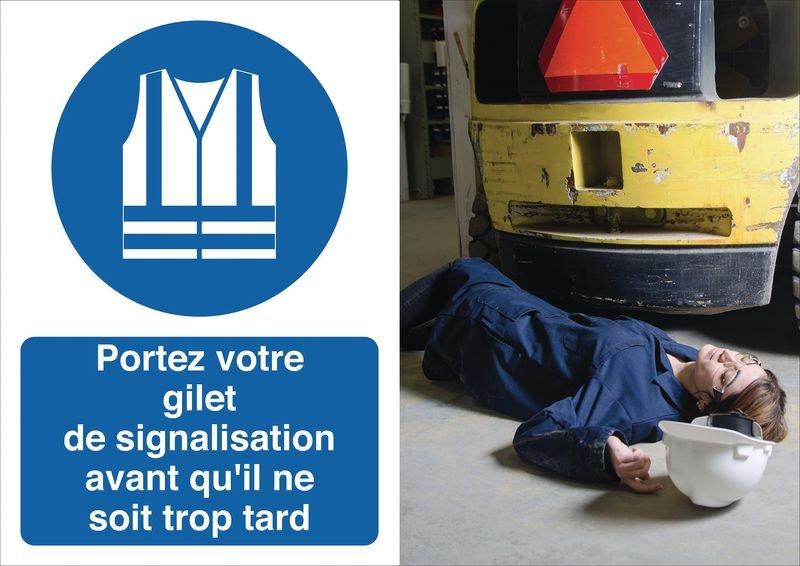 Poster de sécurité - Portez votre gilet de signalisation - M015