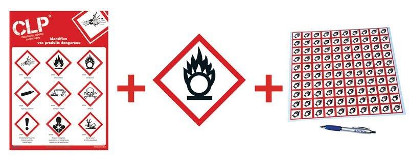 Kit avec autocollants d'avertissement CLP et poster Matières comburantes - GHS03