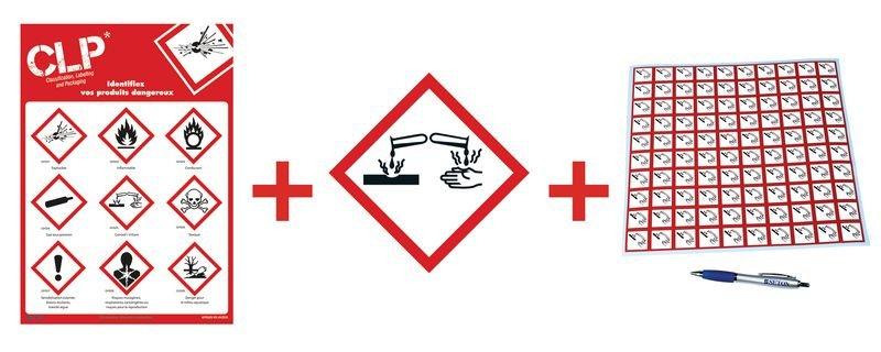 Kit avec autocollants d'avertissement CLP et poster  Substances corrosives - GHS05