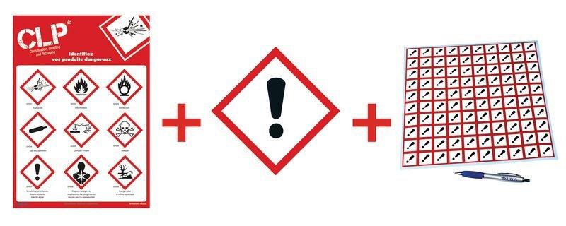 Kit avec autocollants d'avertissement CLP et poster Toxicité aiguë catégorie 4 - GHS07