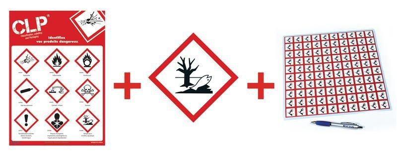 Kit avec autocollants d'avertissement CLP et poster Danger pour le milieu aquatique- GHS09