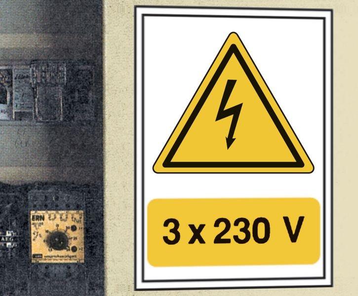 Panneau adhésif de voltage A5 Danger électricité - 3x230 V - Seton