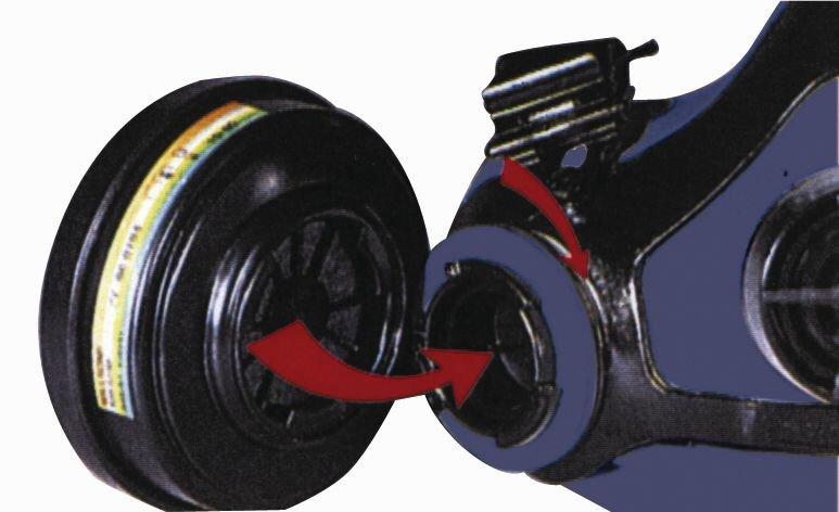 Demi-masque de protection respiratoire bi-filtre en silicone, avec système de fixation click - Seton