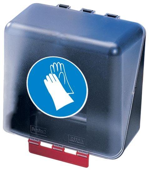 Boîtes de rangement standards pour EPI avec pictogramme Gants de protection obligatoires