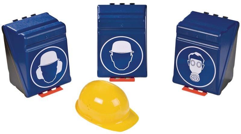 Boîtes de rangement standards pour EPI avec pictogramme Casque de protection obligatoire - Seton