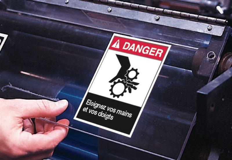 Etiquettes ANSI Z535  Danger - Risque d'écrasement, rouleaux lisses - Seton