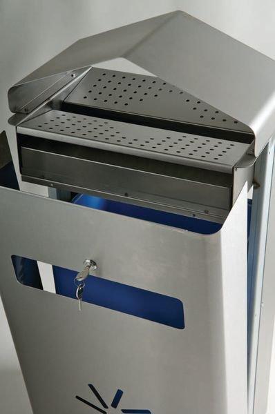 Combiné cendrier - corbeille tout inox - Combinés cendrier poubelle extérieurs