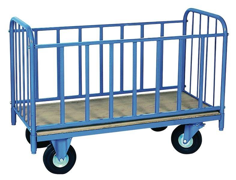 Chariot de manutention avec 2 ridelles latérales et 2 dossiers
