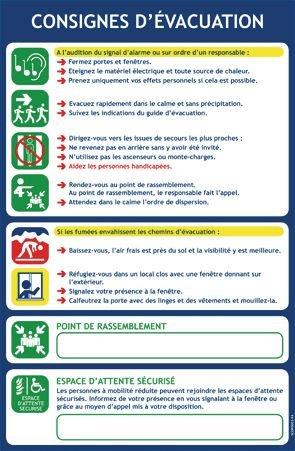 Consignes d'évacuation en PVC