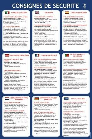 Consignes de sécurité pour les hôtels en 9 langues