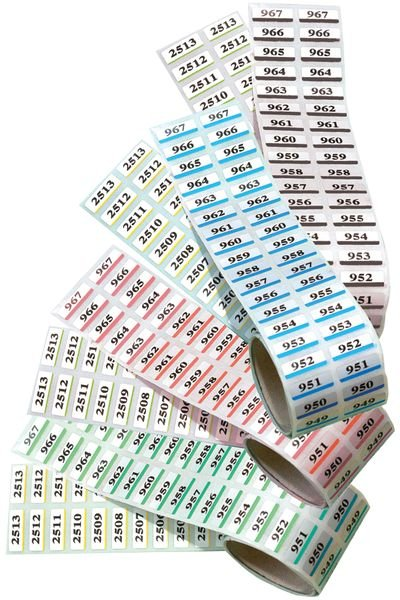 Etiquettes jumelles en polyester métallisé prénumérotées