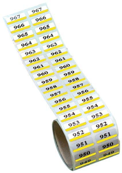 Etiquettes jumelles en polyester métallisé prénumérotées - Seton