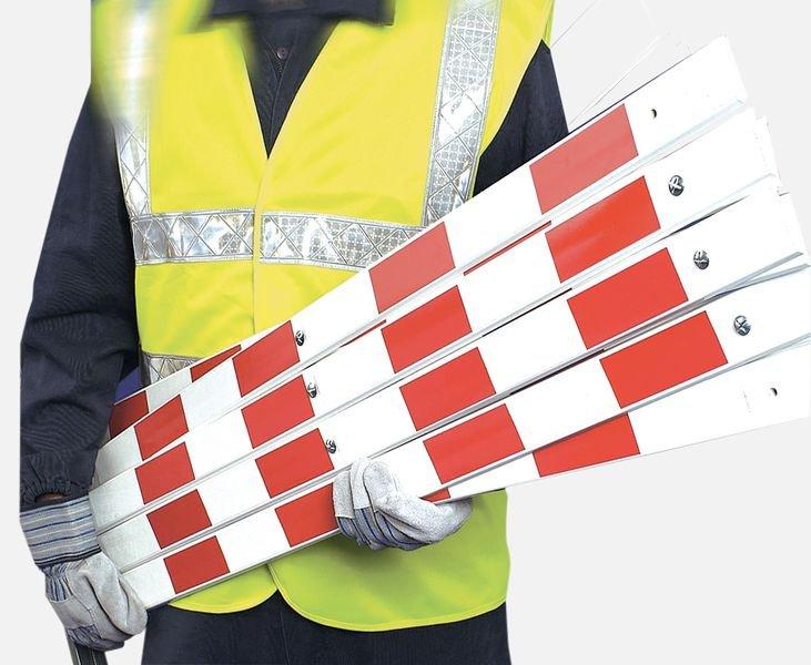 Barrière extensible portable réfléchissante rouge et blanche - Seton