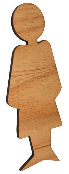 Plaque de porte en bois symbole Toilettes femme - Seton