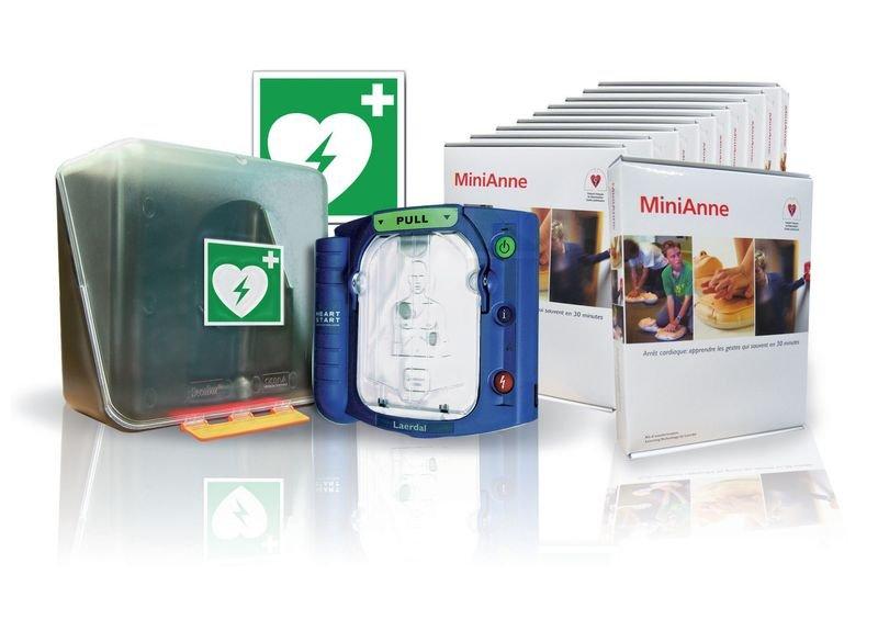 Défibrillateur HeartStart HS1 et 10 kits d'initiation MiniAnne