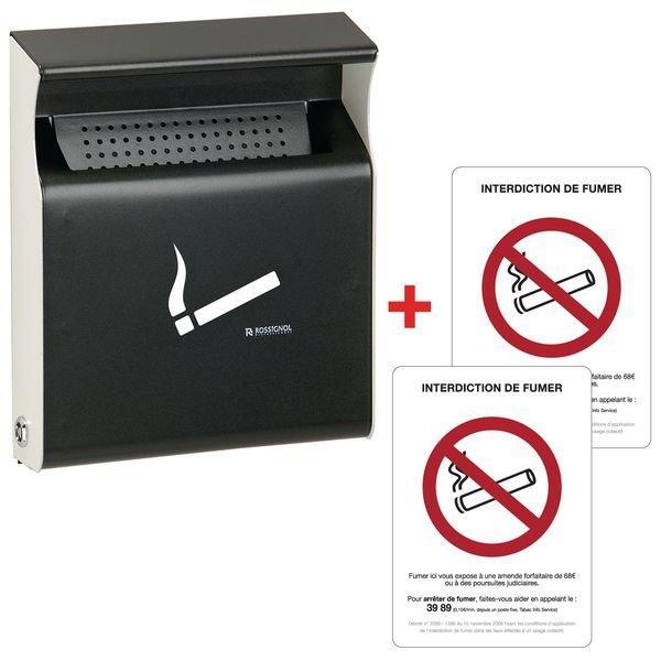 Kit 1 cendrier plat et 2 autocollants Interdiction de fumer