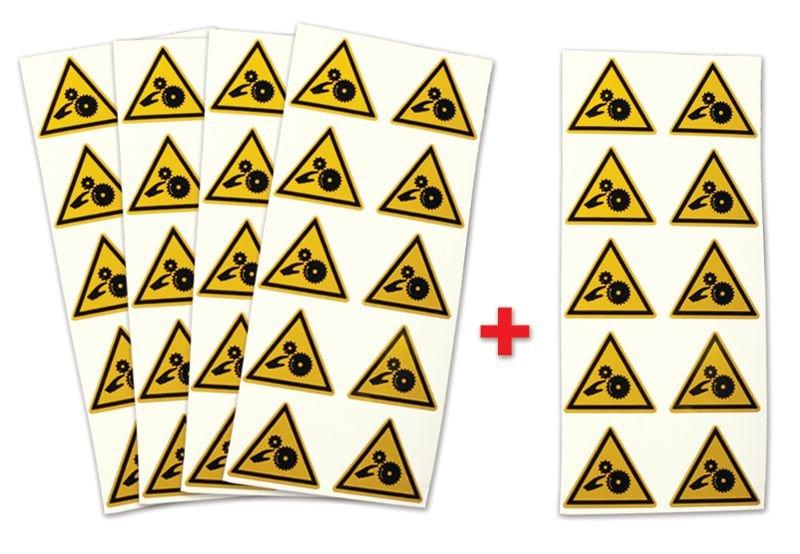 Lot de 5 planches d'autocollants Risque d'écrasement, rouleaux dentés (4+1 gratuite)