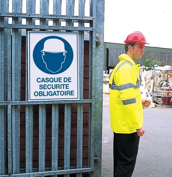 Panneau d'obligation grand format - Casque de sécurité obligatoire - Panneaux port des EPI obligatoires (port du casque…)