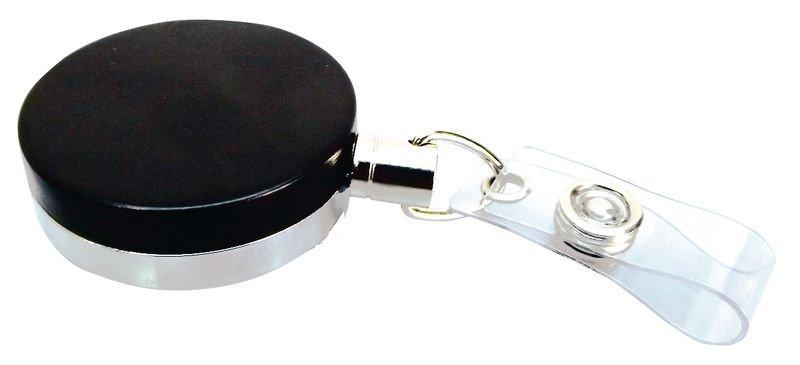 Enrouleur zip porte-badge, en métal, avec pince ceinture