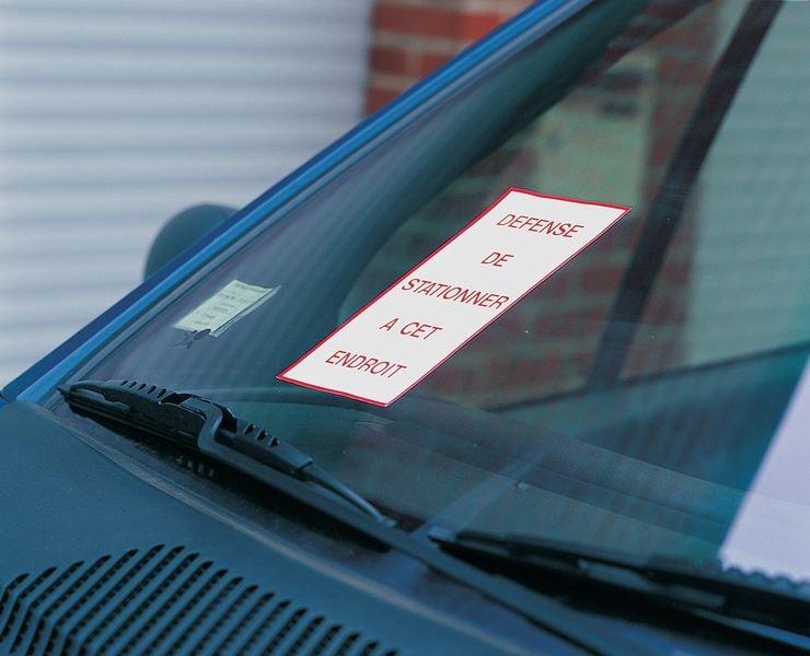 Autocollants dissuasifs Stationnement interdit - Mise en fourrière - Demande d'enlèvement à vos frais - Seton