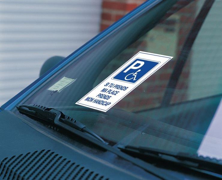 Autocollants dissuasifs Parking handicapés - Si tu prends ma place prends mon handicap - Seton