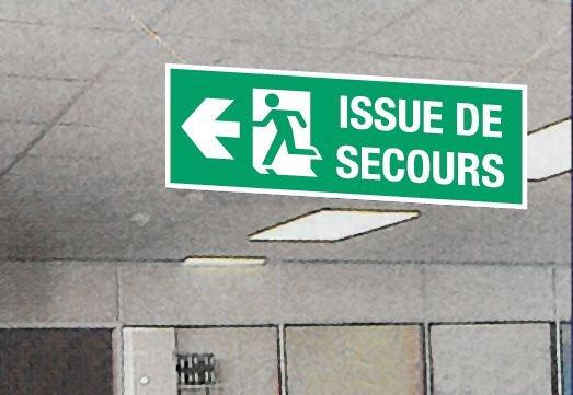 Panneau d'évacuation suspendu grand format Homme qui court, flèche à gauche - Issue de secours - Seton