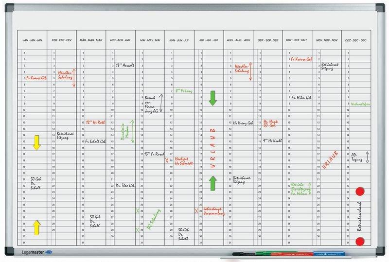 Planning annuel magnétique à division mensuelle verticale