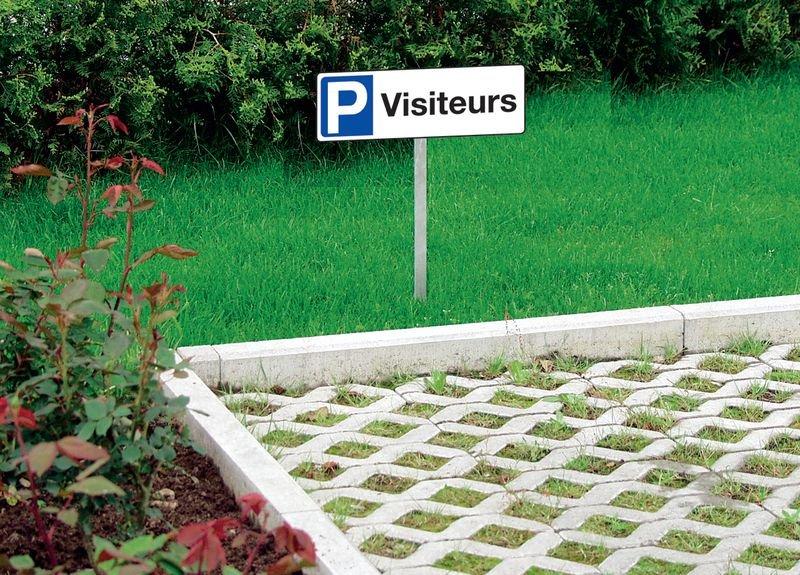 Panneau de parking en PVC - Réservé - avec poteau de fixation - Seton