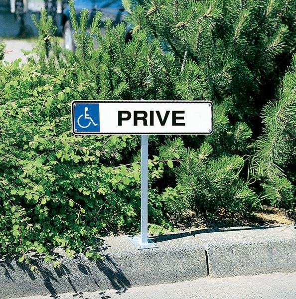 Panneau de parking Parking handicapés, flèches diagonales en bas à gauche et en bas à droite - Seton