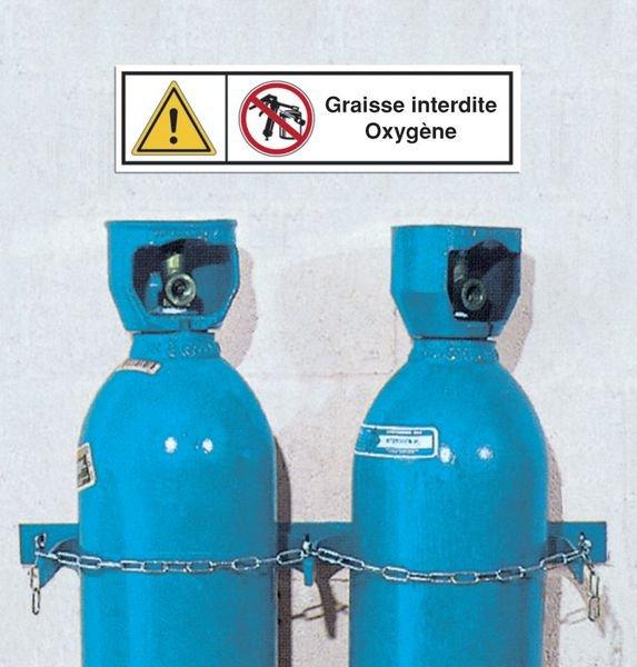Signalisation des produits dangereux Interdiction de fumer - Danger matières comburantes - Oxygène - Seton