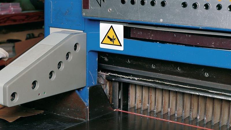 Plaques de signalisation pour machines Danger, risque d'entraînement vertical de la main dans le roulement - Seton