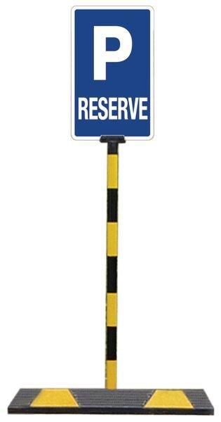 Kit pour butées de parking: 1 poteau + panneau Parking réservé - Seton