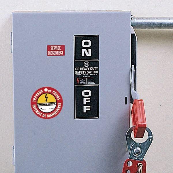 Disques de condamnation magnétiques Danger électricité - En service Ne pas couper - Seton