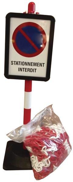 Lot de poteaux Stationnement interdit avec chaîne et panneaux