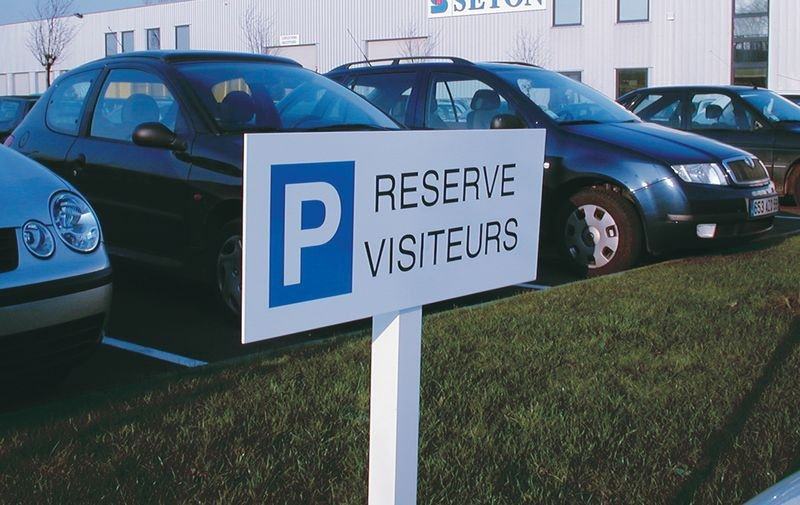 Panneau de parking en aluminium Places de parking - Réservé clients - Seton