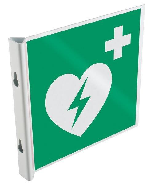 Panneaux en drapeau et tridimensionnels NF EN ISO 7010 Défibrillateur automatique externe pour le cœur