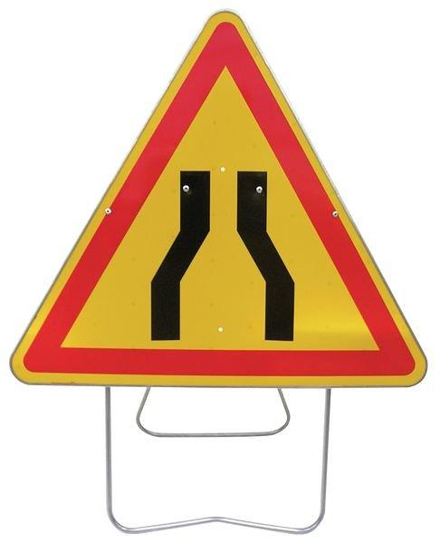 Panneau de signalisation temporaire sur pied Chaussée rétrécie