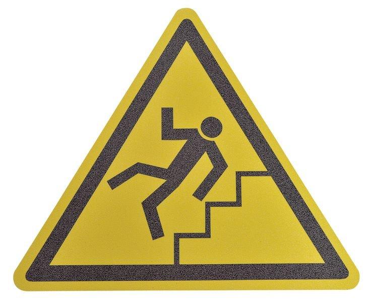 Pictogramme antidérapant au sol Danger escaliers