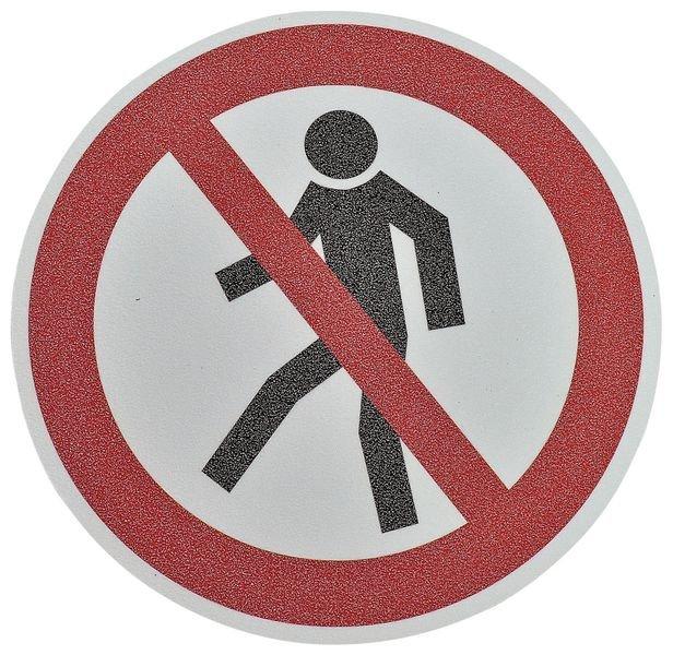 Pictogramme antidérapant au sol Interdiction aux piétons